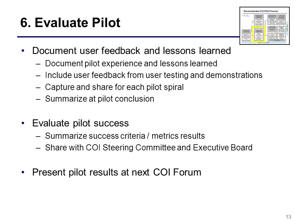 6. Evaluate Pilot Document user feedback and lessons learned