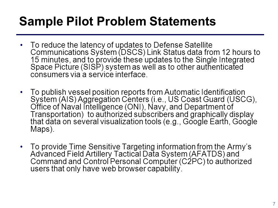Sample Pilot Problem Statements
