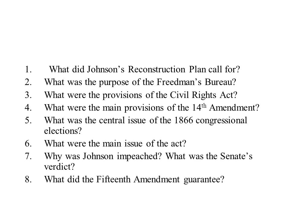 What did Johnson's Reconstruction Plan call for