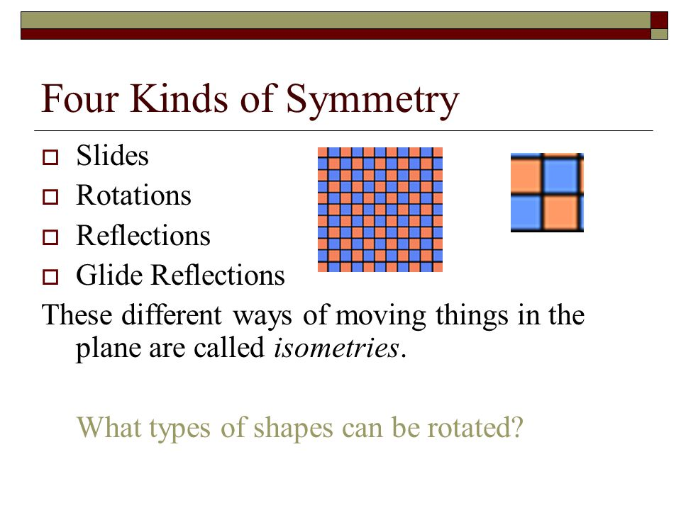 Four Kinds of Symmetry Slides Rotations Reflections Glide Reflections