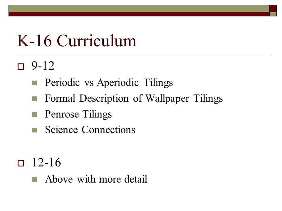K-16 Curriculum 9-12 12-16 Periodic vs Aperiodic Tilings