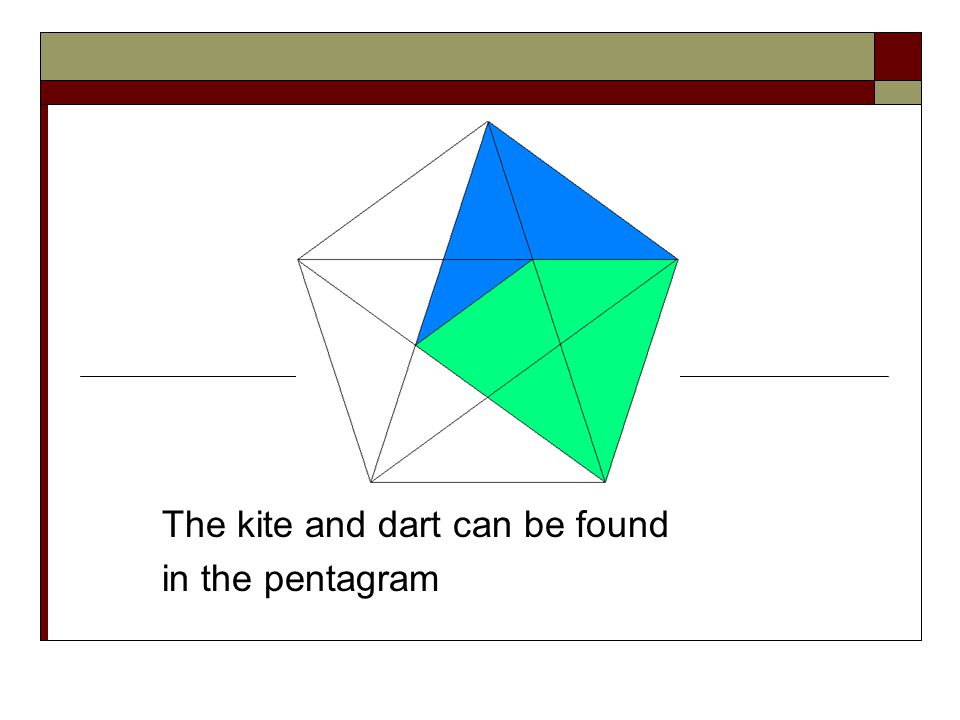 The kite and dart can be found in the pentagram