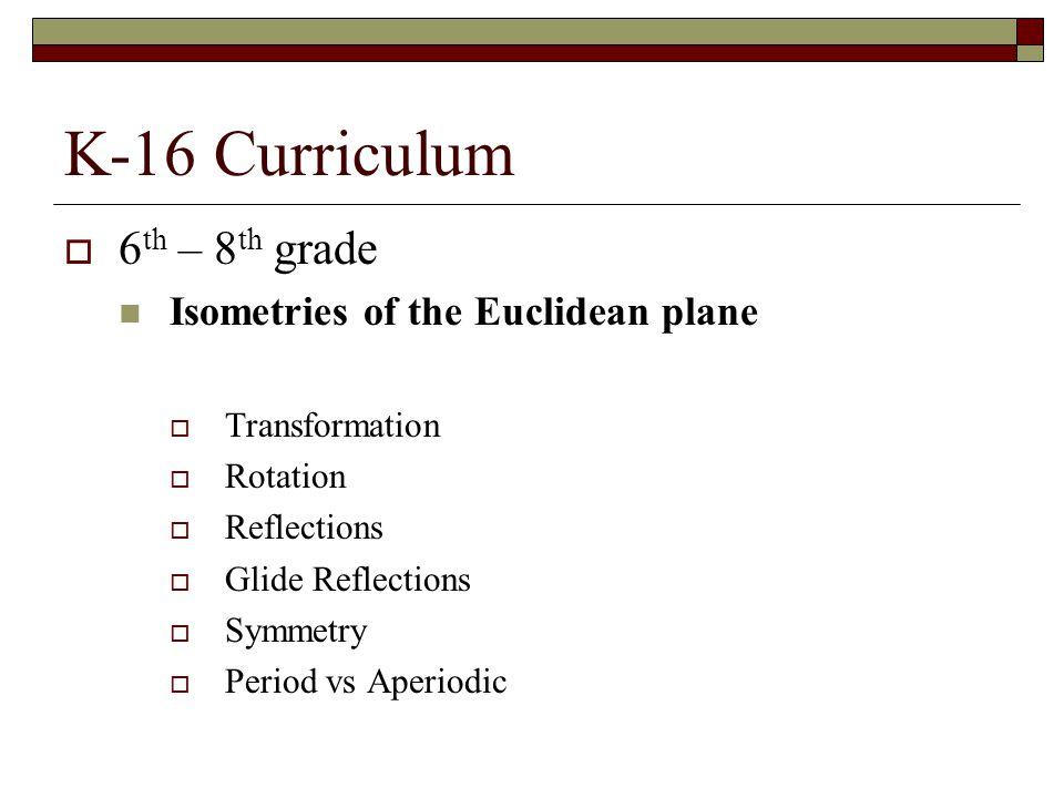 K-16 Curriculum 6th – 8th grade Isometries of the Euclidean plane