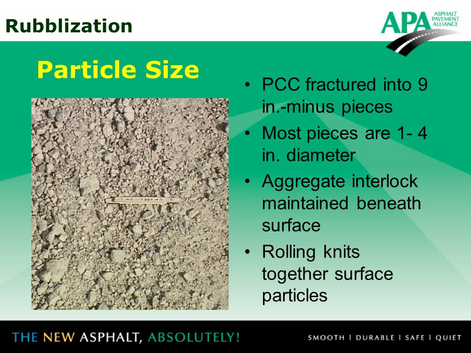 Particle Size PCC fractured into 9 in.-minus pieces