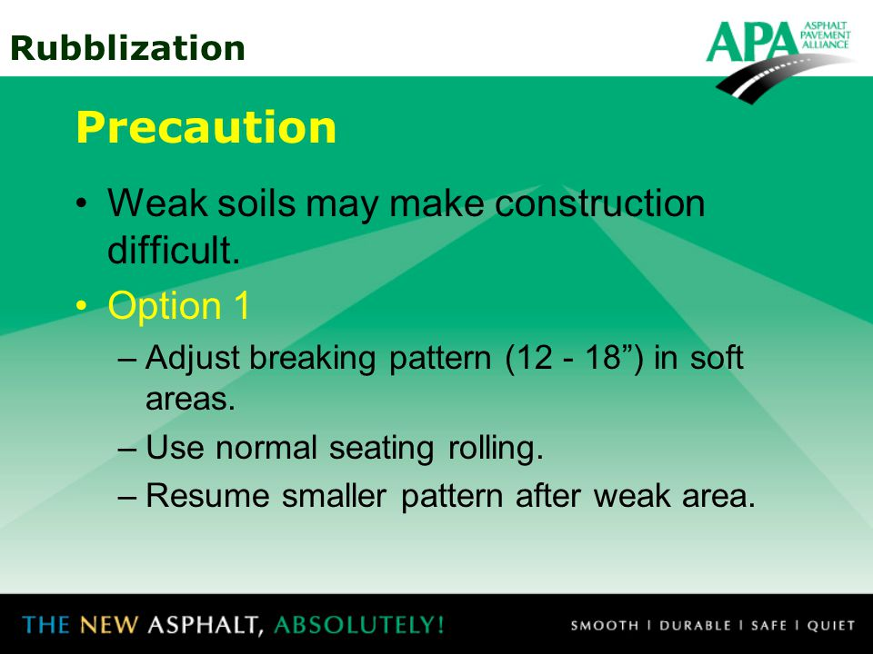 Precaution Weak soils may make construction difficult. Option 1