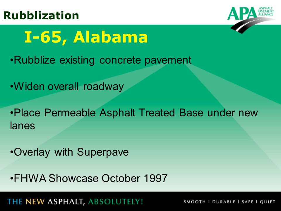 I-65, Alabama Rubblize existing concrete pavement