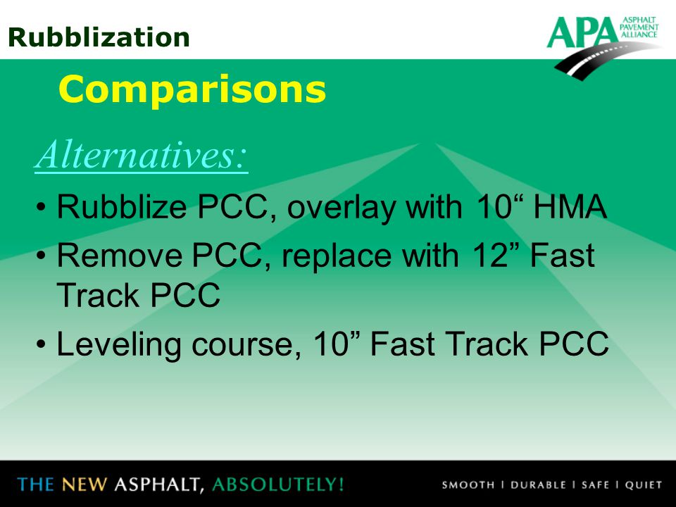 Alternatives: Comparisons Rubblize PCC, overlay with 10 HMA