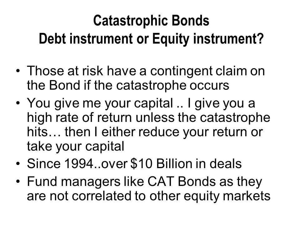 Catastrophic Bonds Debt instrument or Equity instrument