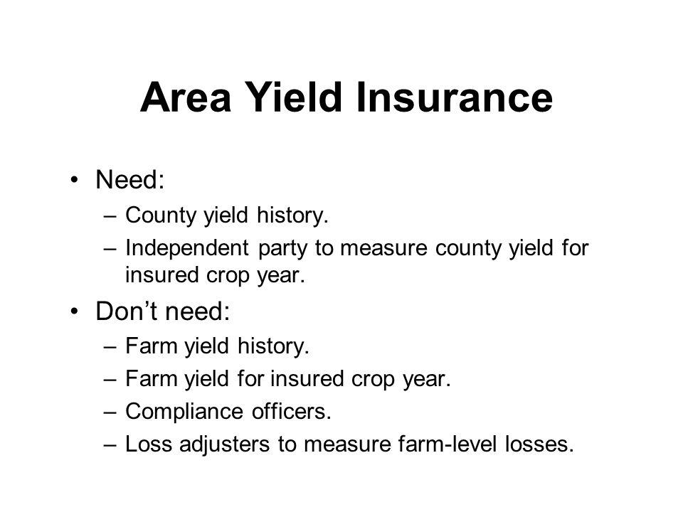 Area Yield Insurance Need: Don't need: County yield history.
