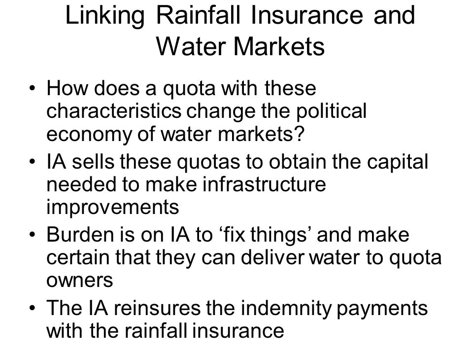Linking Rainfall Insurance and Water Markets