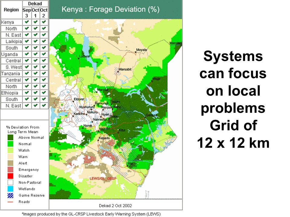 Systems can focus on local problems Grid of 12 x 12 km