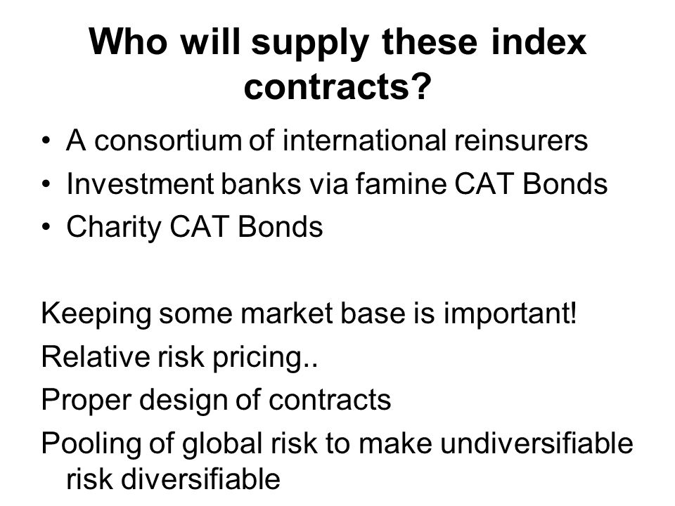 Who will supply these index contracts