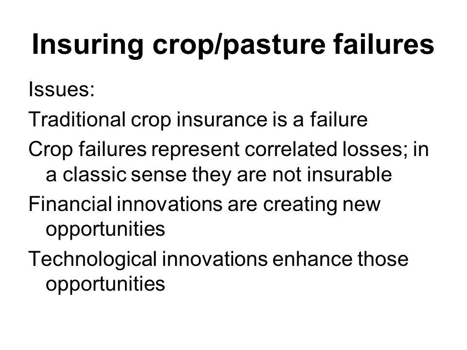 Insuring crop/pasture failures