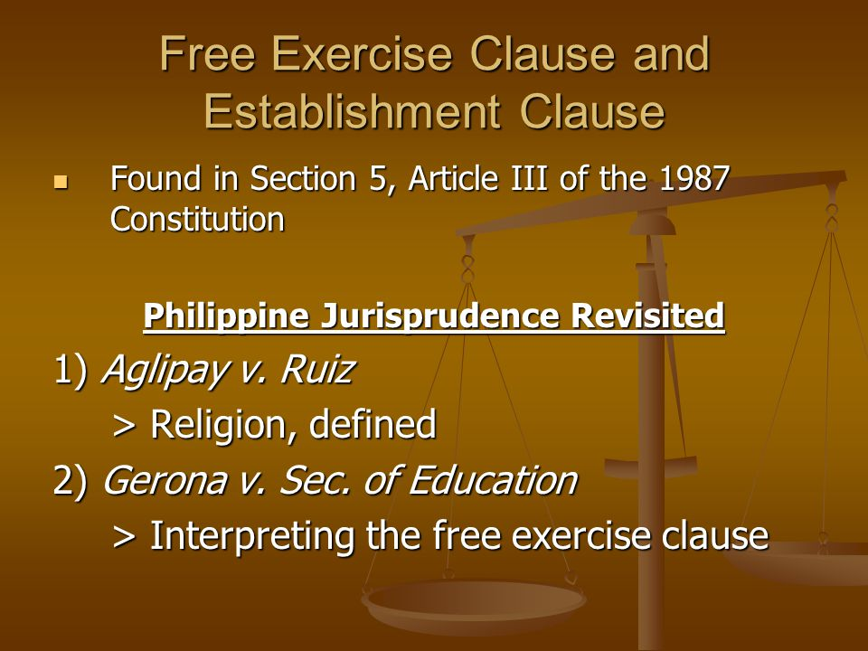 Free Exercise Clause and Establishment Clause