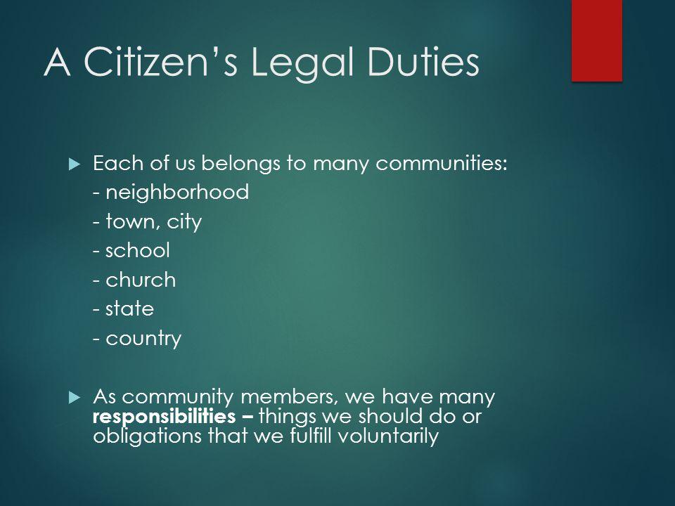 A Citizen's Legal Duties