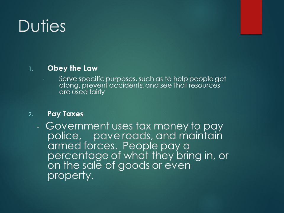 Duties Obey the Law Pay Taxes