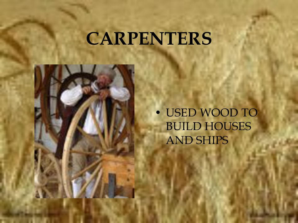 CARPENTERS USED WOOD TO BUILD HOUSES AND SHIPS
