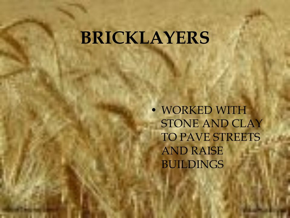 BRICKLAYERS WORKED WITH STONE AND CLAY TO PAVE STREETS AND RAISE BUILDINGS