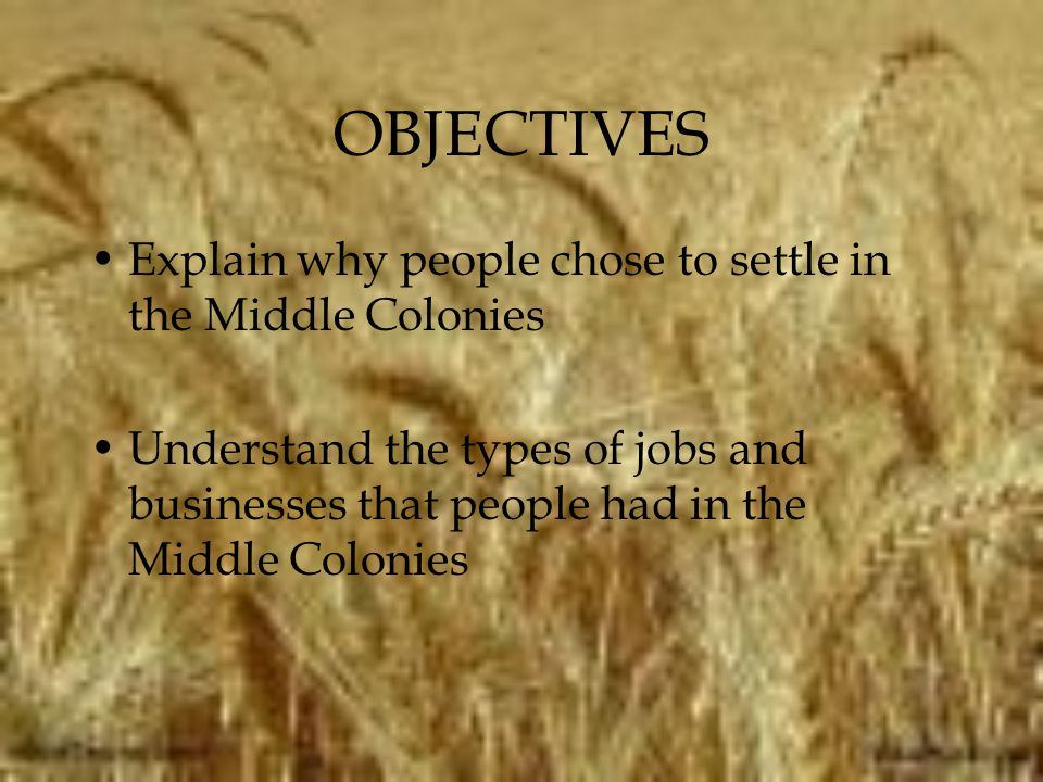 OBJECTIVES Explain why people chose to settle in the Middle Colonies
