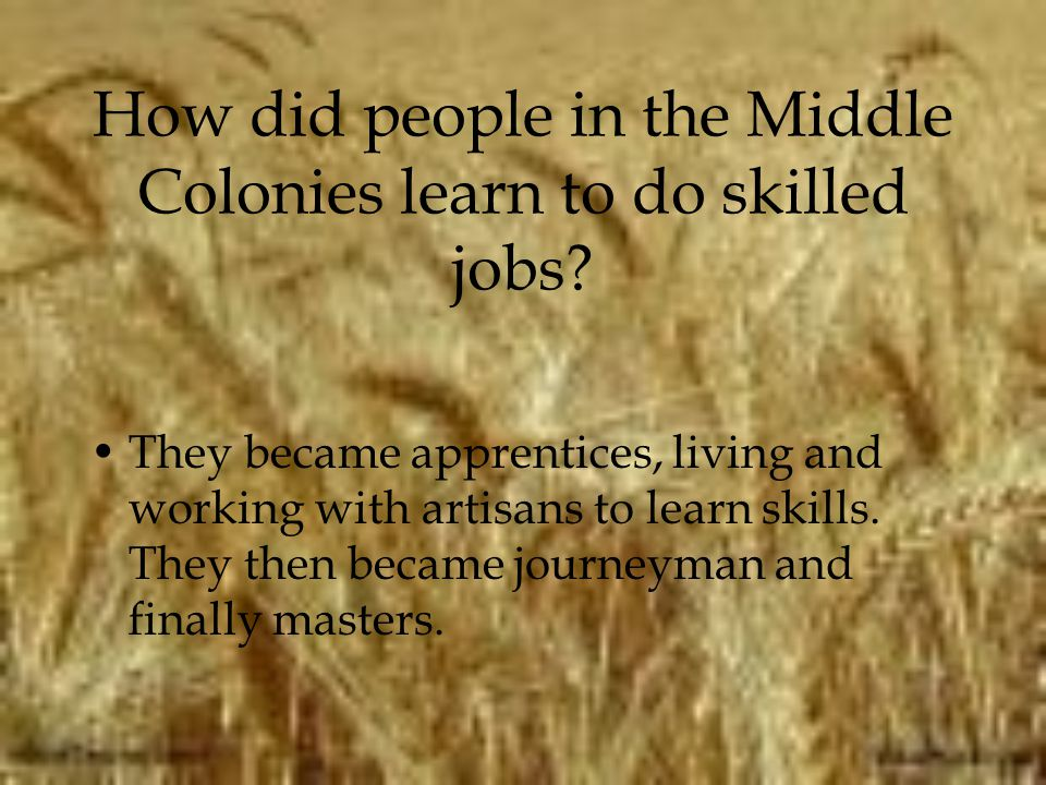 How did people in the Middle Colonies learn to do skilled jobs