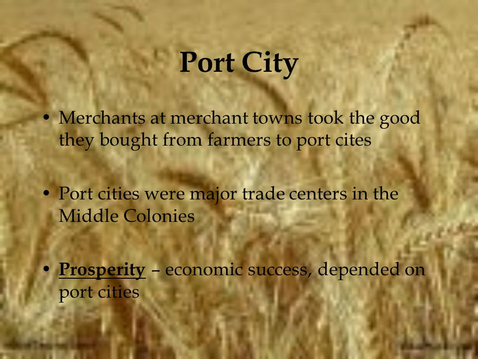 Port City Merchants at merchant towns took the good they bought from farmers to port cites.