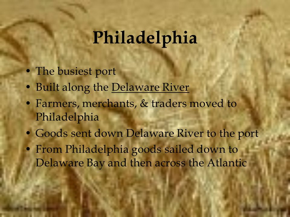 Philadelphia The busiest port Built along the Delaware River