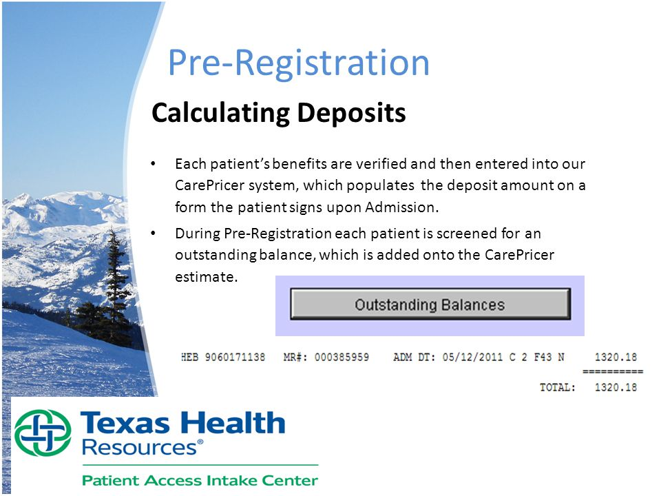 Pre-Registration Calculating Deposits