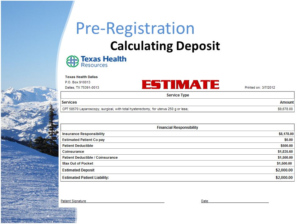 Pre-Registration Calculating Deposit