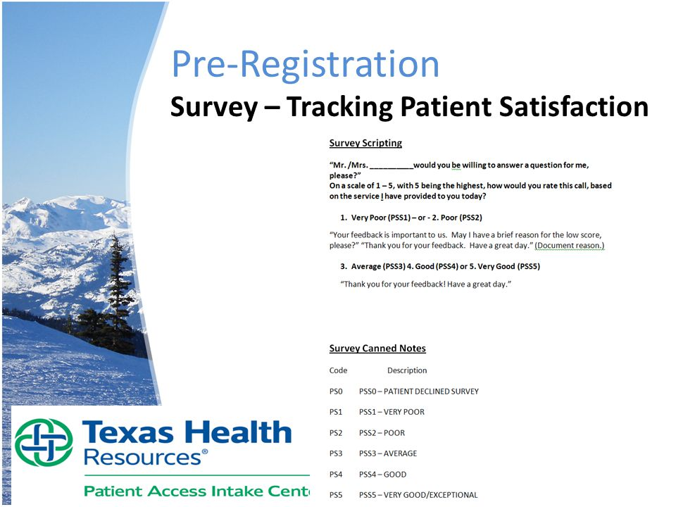 Pre-Registration Survey – Tracking Patient Satisfaction