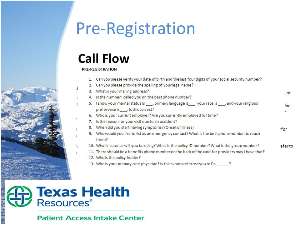 Pre-Registration Call Flow