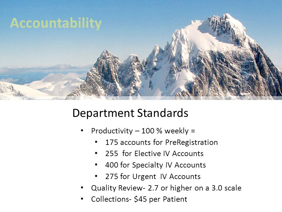 Accountability Department Standards Productivity – 100 % weekly =