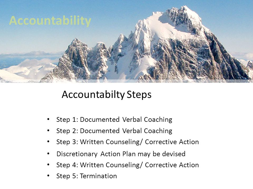 Accountability Accountabilty Steps Step 1: Documented Verbal Coaching