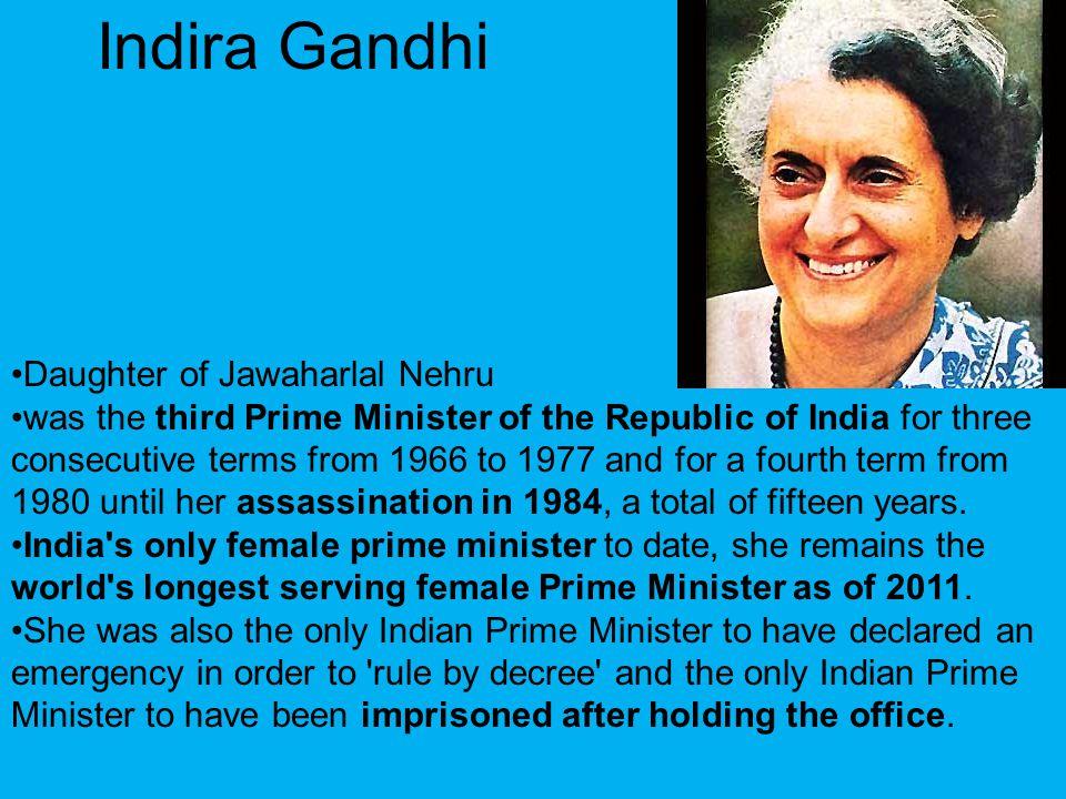 Indira Gandhi Daughter of Jawaharlal Nehru