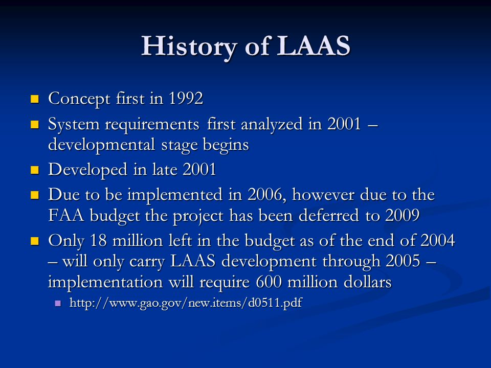 History of LAAS Concept first in 1992