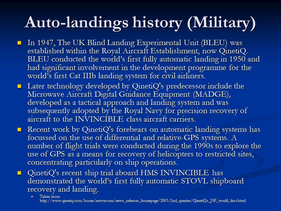 Auto-landings history (Military)
