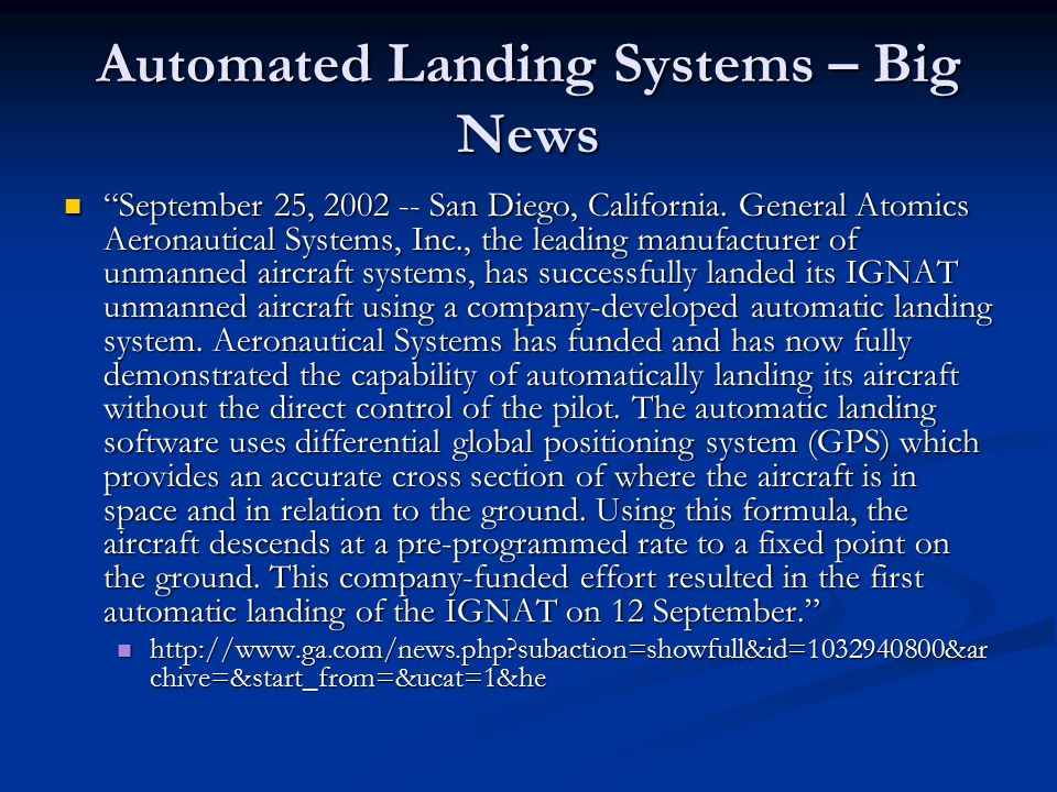 Automated Landing Systems – Big News