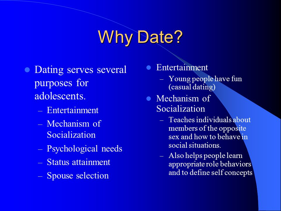 Why Date Dating serves several purposes for adolescents.