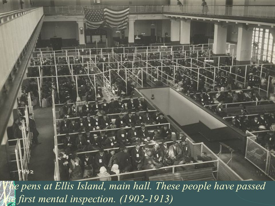 The pens at Ellis Island, main hall