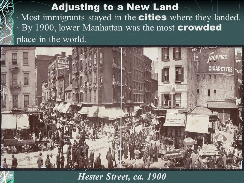Adjusting to a New Land · Most immigrants stayed in the cities where they landed.