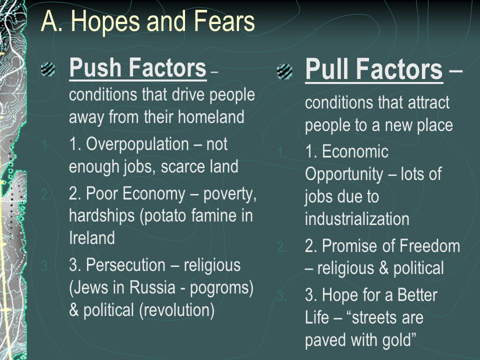 A. Hopes and Fears Pull Factors –