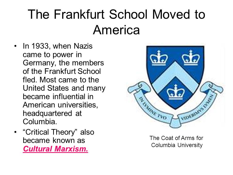 The Frankfurt School Moved to America