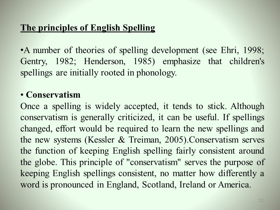 The principles of English Spelling