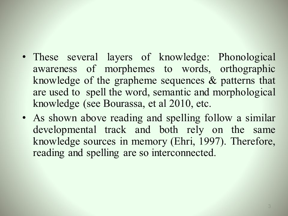 These several layers of knowledge: Phonological awareness of morphemes to words, orthographic knowledge of the grapheme sequences & patterns that are used to spell the word, semantic and morphological knowledge (see Bourassa, et al 2010, etc.