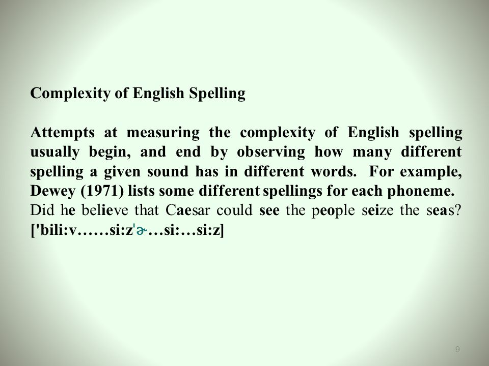 Complexity of English Spelling