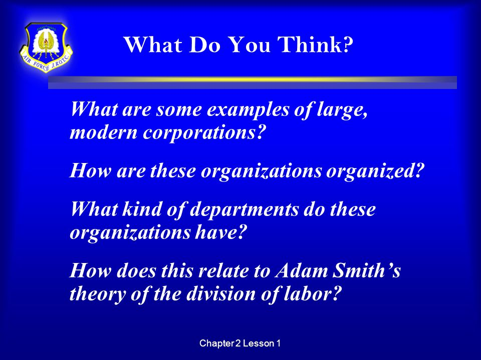 What Do You Think What are some examples of large, modern corporations How are these organizations organized