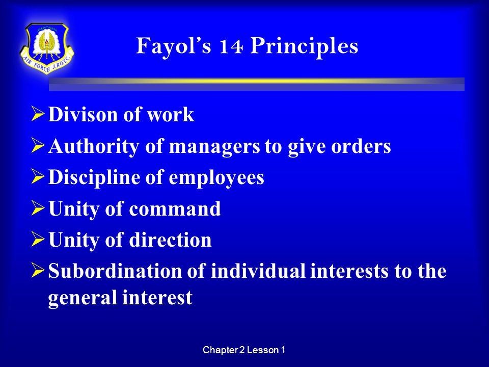 Fayol's 14 Principles Divison of work