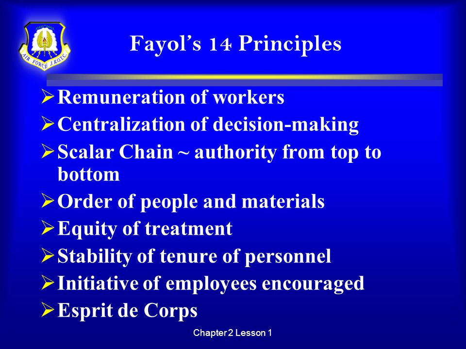 Fayol's 14 Principles Remuneration of workers