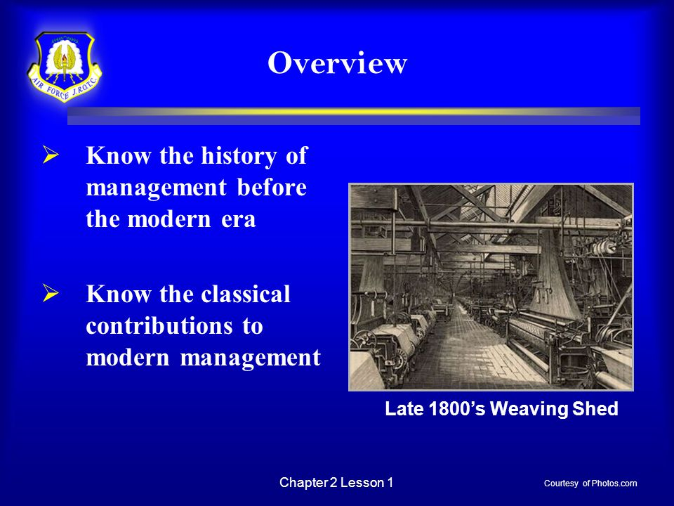 Overview Know the history of management before the modern era