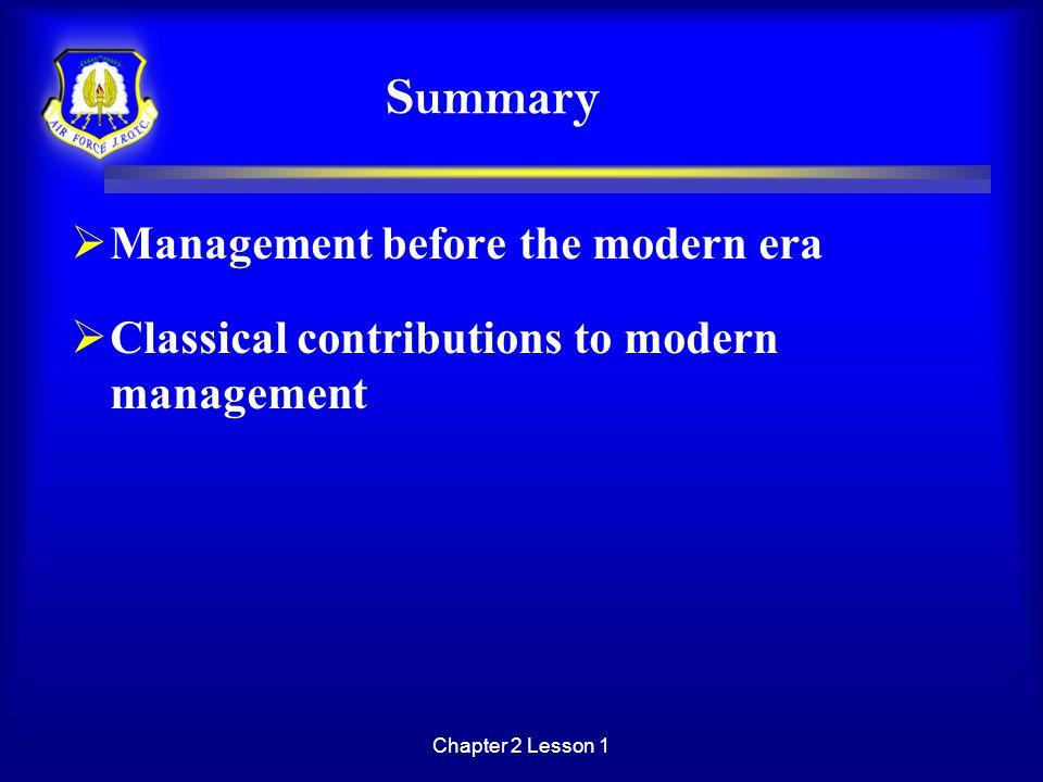Summary Management before the modern era