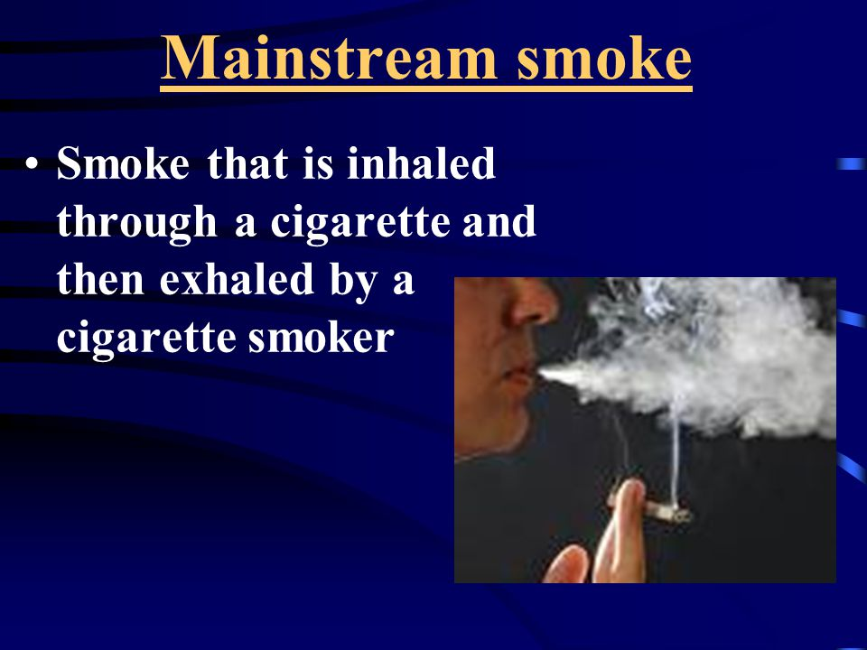 Mainstream smoke Smoke that is inhaled through a cigarette and then exhaled by a cigarette smoker